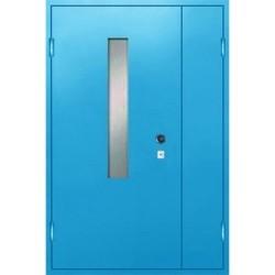 Металлическая дверь в тамбур с окном «Стеклопакет-ТА»