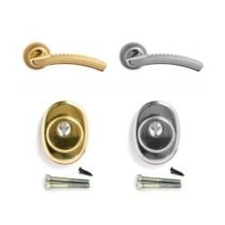 Раздельная ручка + Врезная броненакладка (Apecs-H-0826-G-Cr+Apecs-Protector-Pro) (золото, хром)