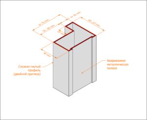 Гнуто-сварная коробка с двойным притвором без наличника