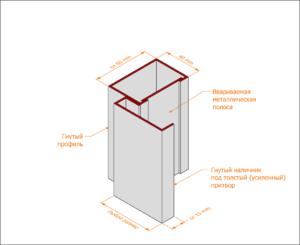 Гнуто-сварная коробка с гнутым наличником под толстый (усиленный притвор)