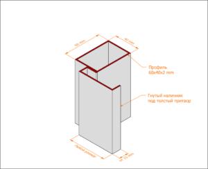 Профильная коробка с гнутым наличником под толстый (усиленный) притвор