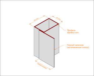 Профильная коробка с наличником из металлической полосы