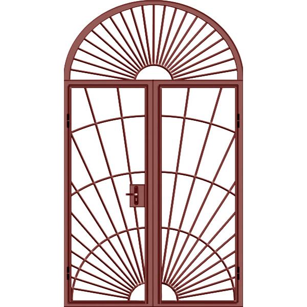 Металлическая арочная решетчатая дверь «Арка-Решетчатая-1»
