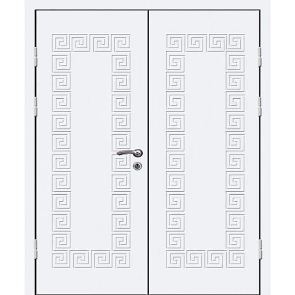 Входная двустворчатая металлическая дверь с отделкой белыми МДФ плитами толщиной 8 мм «Белая-МДФ-Двух»
