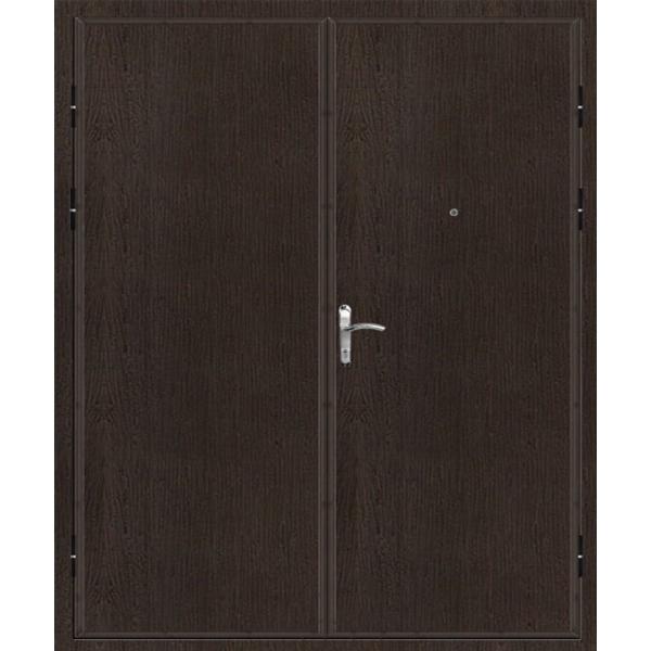 Двупольная металлическая входная дверь с двумя равными рабочими створками «Ламинат-Шумка*2»