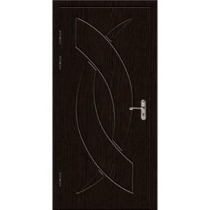 Трехлиствая металлическая дверь с толстым полотном и отделкой МДФ с зеркалом «Трилистник-Венге»