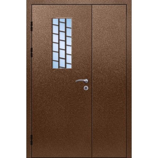 Входная металлическая дверь с решеткой и стеклопакетом «Антик-Стеклопакет»