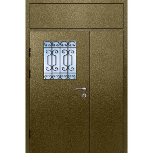 Металлическая входная дверь на лестничную площадку с глухарем и стеклопакетом «Полуторка-СКПТ»
