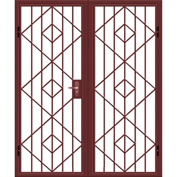 Двухстворчатая металлическая дверь решетка на лестницу в тамбур «Ромбы-Реш»