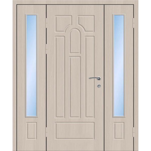 Металлическая трехстворчатая дверь со стеклопакетами для широких проемов с отделкой МДФ плитами «Трехстворка-МДФ»