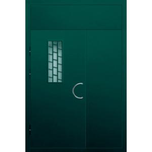 Полуторная металлическая дверь в парадную с глухарем сверху, армированным стеклом и решеткой на окно «Парадная-5»