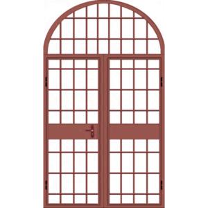 Металлическая двухстворчатая дверь с фрамугой арочной формы «Арочная-Реш»