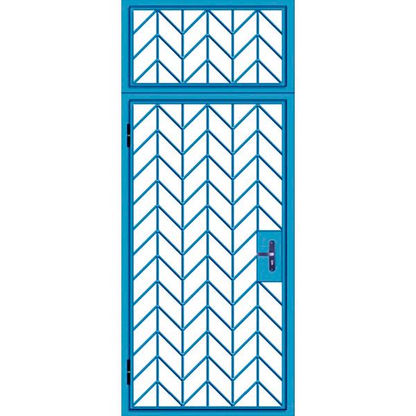 Стальная решетчатая дверь с глухарем сверху «Ель-Реш-1»