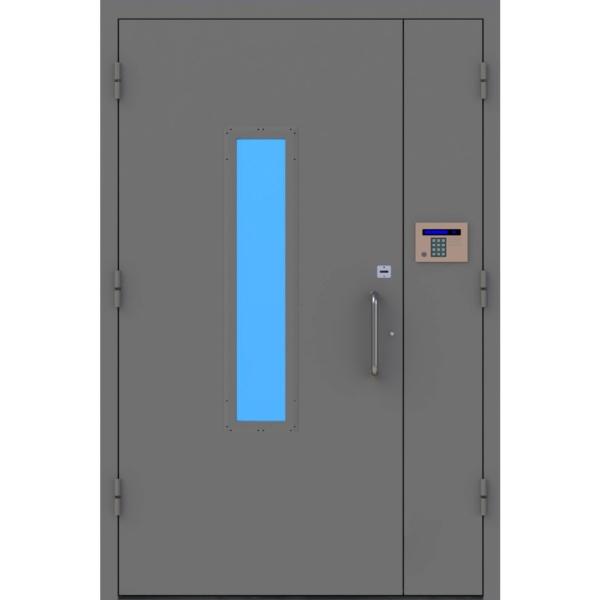 Металлическая подъездная дверь с двухкамерным стеклопакетом «Парадная-1»