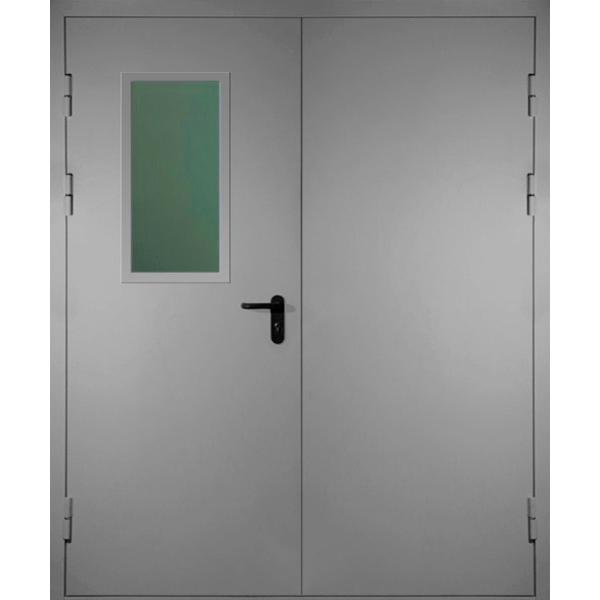Полуторная противопожарная металлическая дверь класса EI-60 со стеклопакетом «Антипаника-Двух»