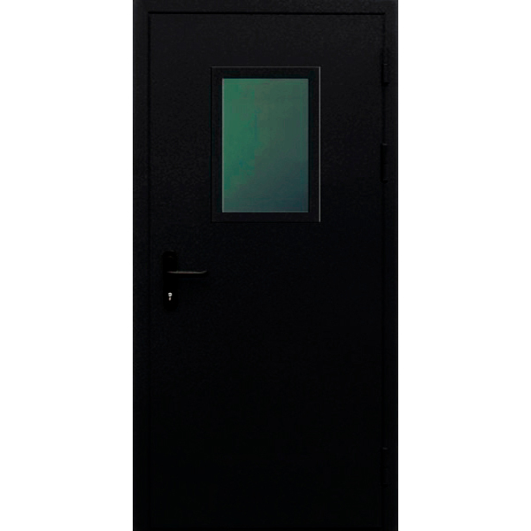 Одностворчатая противопожарная металлическая дверь со стеклопакетом «Антипаника-Одн»