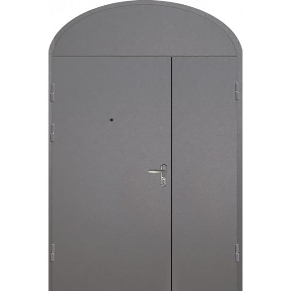 Металлическая двухстворчатая входная дверь с глухарем арочной формы «Арочная-Пол»
