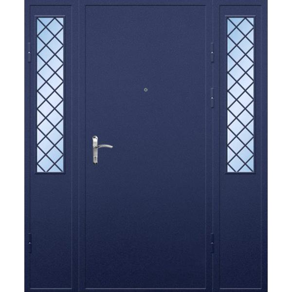 Входная трехстворчатая дверь для широких проемов с армированными стеклами «Трехстворка-Порошок»